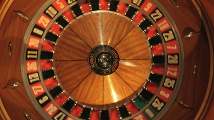 Birdseye MCU of Roulette Wheel Spinning