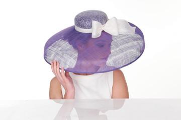 Mysterious Woman in Elegant Light Violet Hat