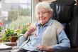 Leinwanddruck Bild Elderly person with emergency button