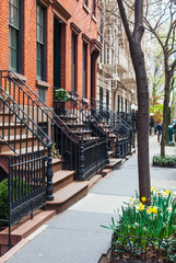 New York City street with brownstone houses