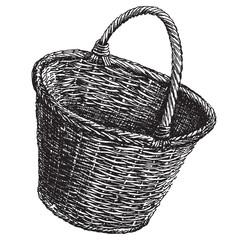 wicker basket vector logo design template.  handicraft or