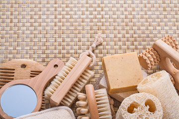 big set of bathroom accessories on wicker background with copysp