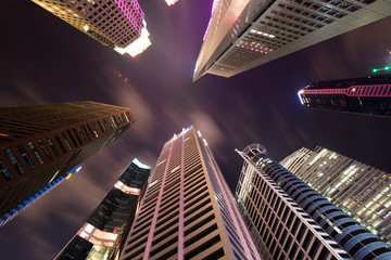 Skysrapers in Singapore during night hours