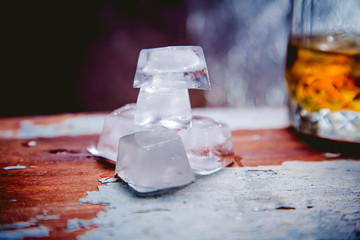 ice cubes at the grocery whiskey