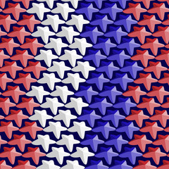 Seamless pattern consisting of white,red and blue stars in the t