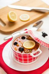 Russian soup - solyanka. Selective focus