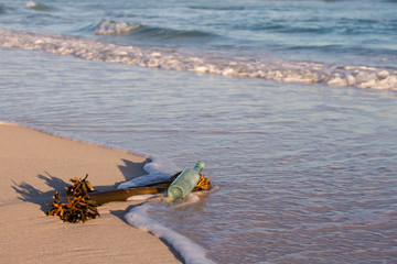 Old bottle lay on beach with sea plant and wave move in