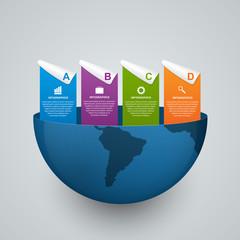 Modern global options infographics template. Design elements.