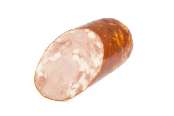 Slice of sausage on a white background