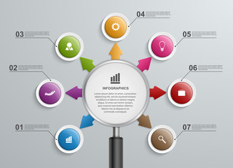 Abstract infographic with a magnifying glass.