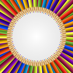Abstract frame of colored pencils background.