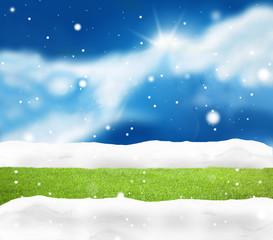 Festive snow winter blue sky scenery background