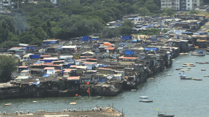 Zoom in on slums Mumbai India