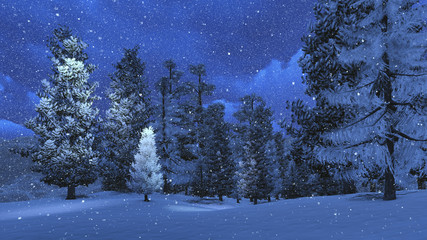 Winter night in the snowbound pinewood 2