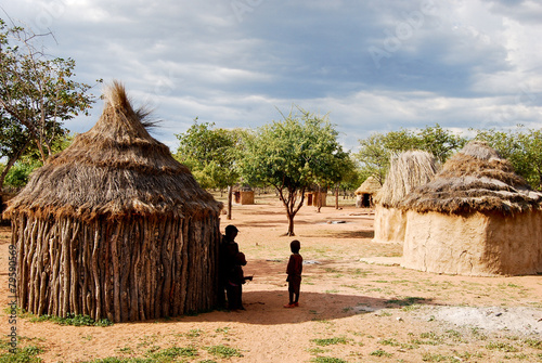 Himba village near the Etosha National Park in Namibia