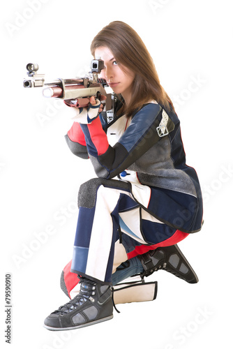 Woman training sport shooting  - 79590910