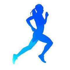 Running girl. Vector athlete