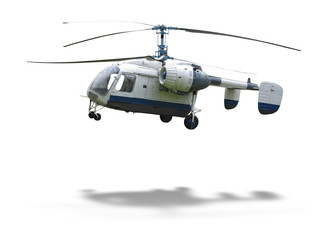 KA-26 russian double rotor helicopter isolated on white backgrou