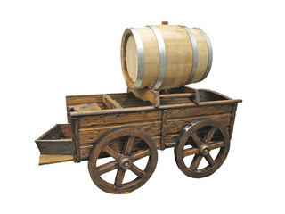 Vintage wooden cart with wine barrel isolated over white