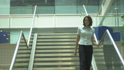 WS FEMALE ON STAIRS WALKING