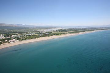 Aerial view of the Big beach, Ulcinj,  Montenegro.