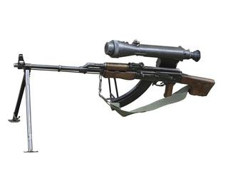 Kalashnikov AK gun with optical sight isolated over white