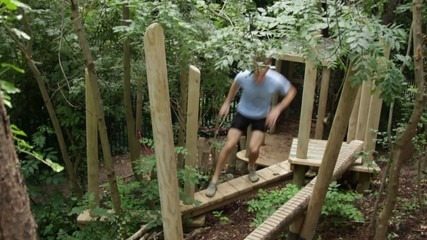Male exercising on fitness trail