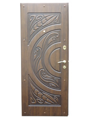 Wooden brown pattern front door isolated over white