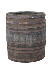 Vintage old wooden barrel isolated over white