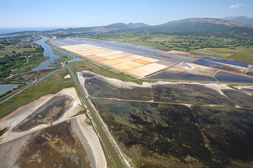 Aerial view of the extraction of salt in Montenegro
