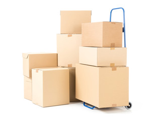 Parcels and hand truck