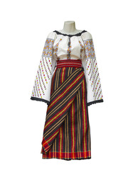 Balkan embroidered national traditional costume clothes isolated