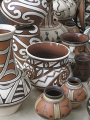 Colorful designed clay pottery ceramic vases