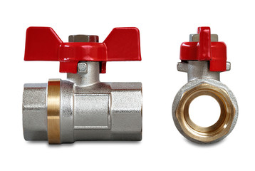 Valves for hot water isolated on a white background