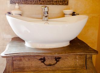 Hygiene. Closeup of sink. Retro batroom.
