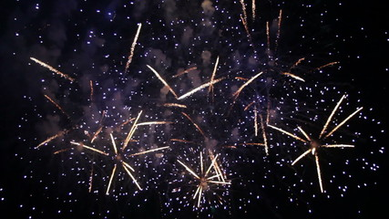 Beautiful Fireworks Exploding On Black Background in Slow mo