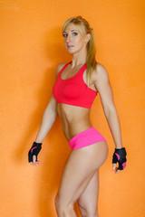 Sporty muscular woman.