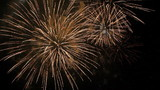 Fantastic Spectacular Fireworks On Black Background in Slow