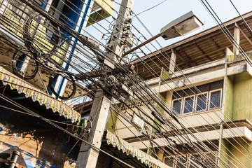 Tangled cables in bangkok