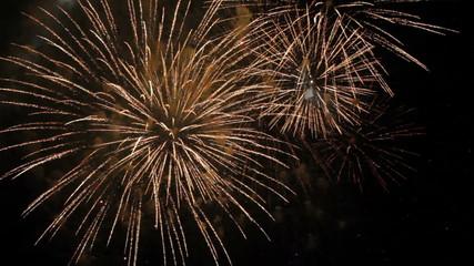 Fantastic Spectacular Fireworks On Black Background in Slow