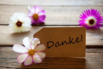 Label With German Text Danke With Cosmea Blossoms