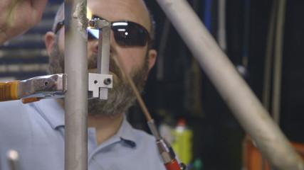 Mature man working in garage
