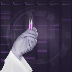 Scientific sample in gloved hand