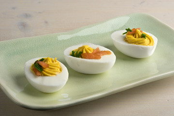 Deviled eggs with smoked salmon and chives