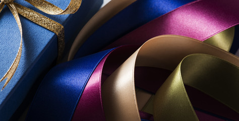 Gift. Multi colored satin ribbons.