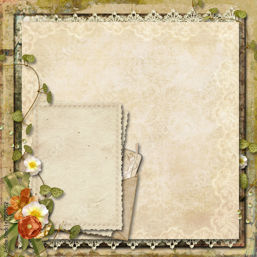 Fotobehang Retro Vintage background with old card and beautiful flowers