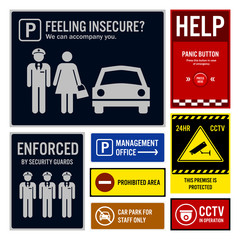 Car Park Safety and Security Signs Signboards