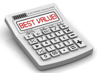 Лучшее соотношение! (BEST VALUE!). Надпись на калькуляторе