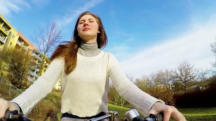 girl woman bike,  action camera