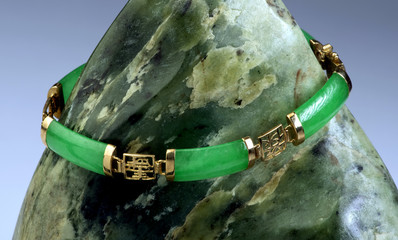 Green Jade and Gold  Bangle.